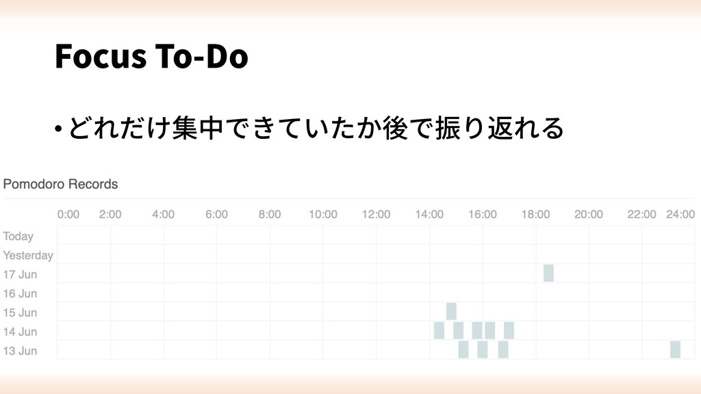 Focus To-Do •どれだけ集中できていたか後で振り返れる