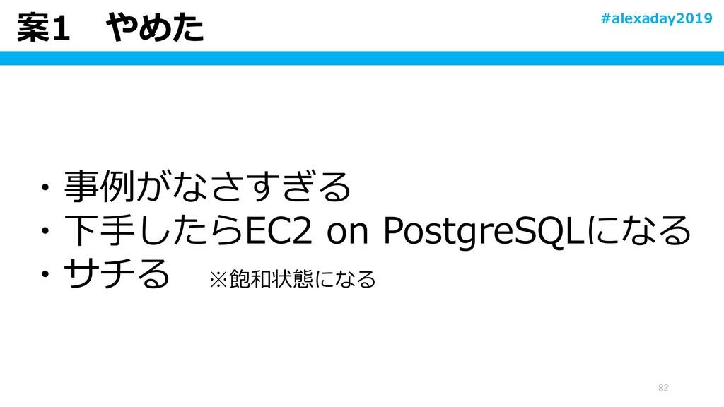 案1 やめた 82 ・事例がなさすぎる ・下手したらEC2 on PostgreSQLになる ...
