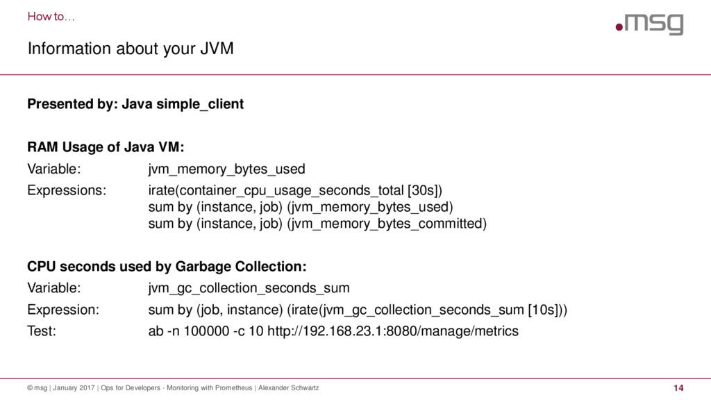 How to… Information about your JVM © msg | Janu...