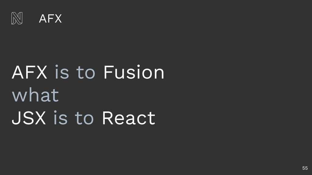 AFX 55 AFX is to Fusion what JSX is to React