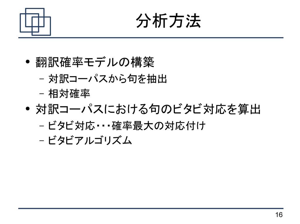 16 分析方法 ● 翻訳確率モデルの構築 – 対訳コーパスから句を抽出 – 相対確率 ● 対訳...