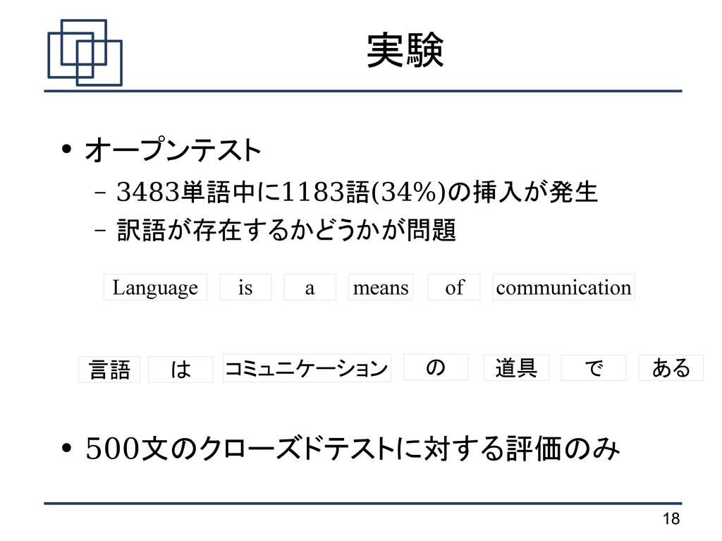 18 実験 ● オープンテスト – 3483単語中に1183語(34%)の挿入が発生 – 訳語...