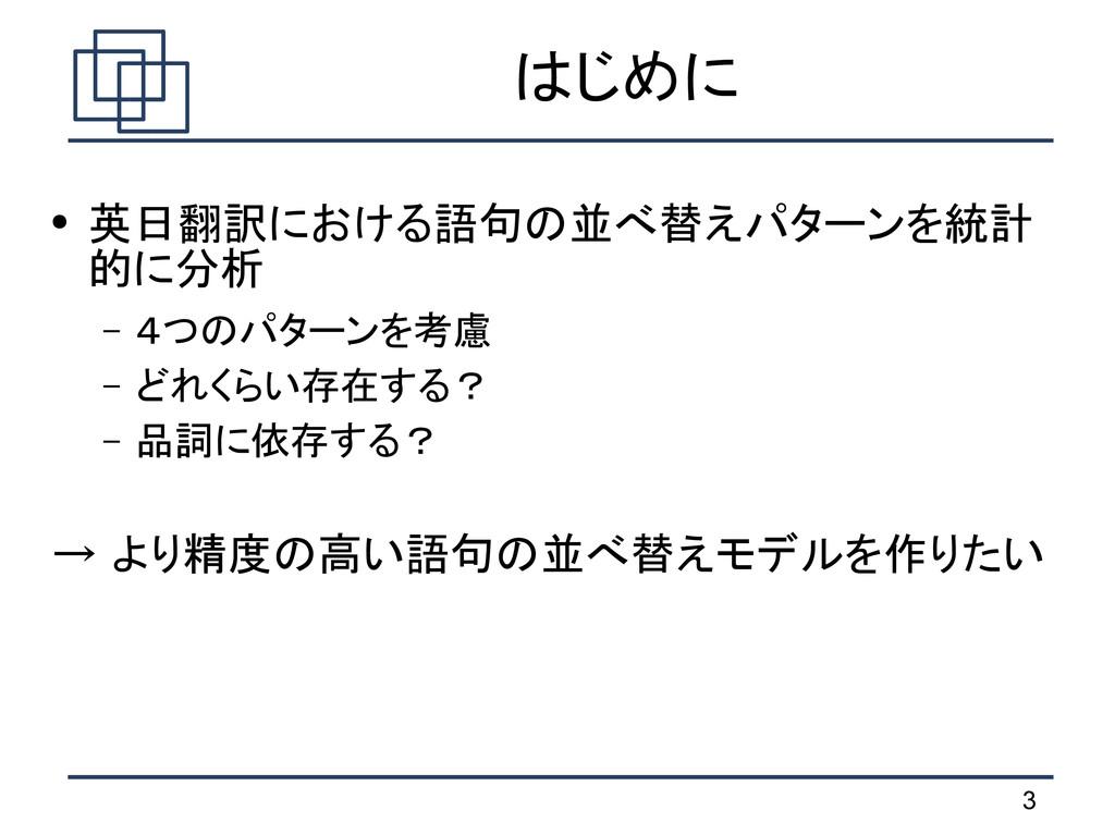 3 はじめに ● 英日翻訳における語句の並べ替えパターンを統計 的に分析 – 4つのパターンを...