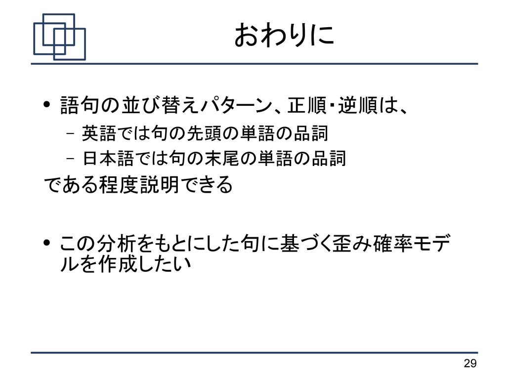 29 おわりに ● 語句の並び替えパターン、正順・逆順は、 – 英語では句の先頭の単語の品詞 ...