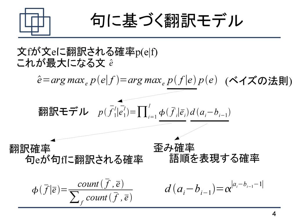 4 句に基づく翻訳モデル p  f 1 I∣ e 1 I =∏ i=1 I   ...