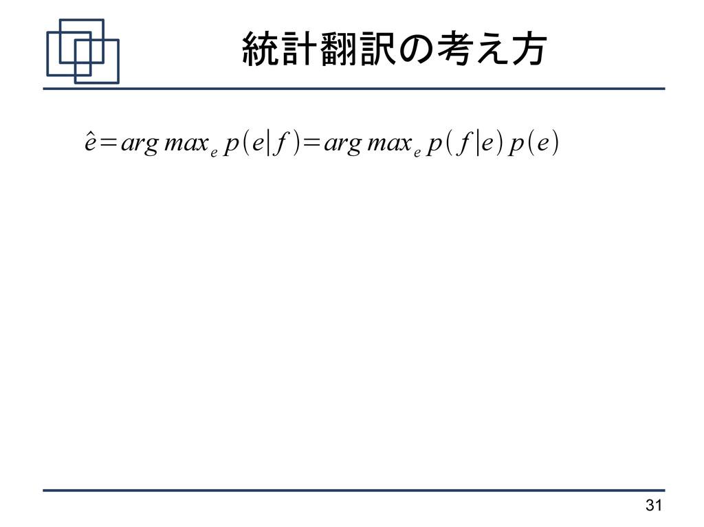 31 統計翻訳の考え方  e=arg max e pe∣f =arg max e p ...