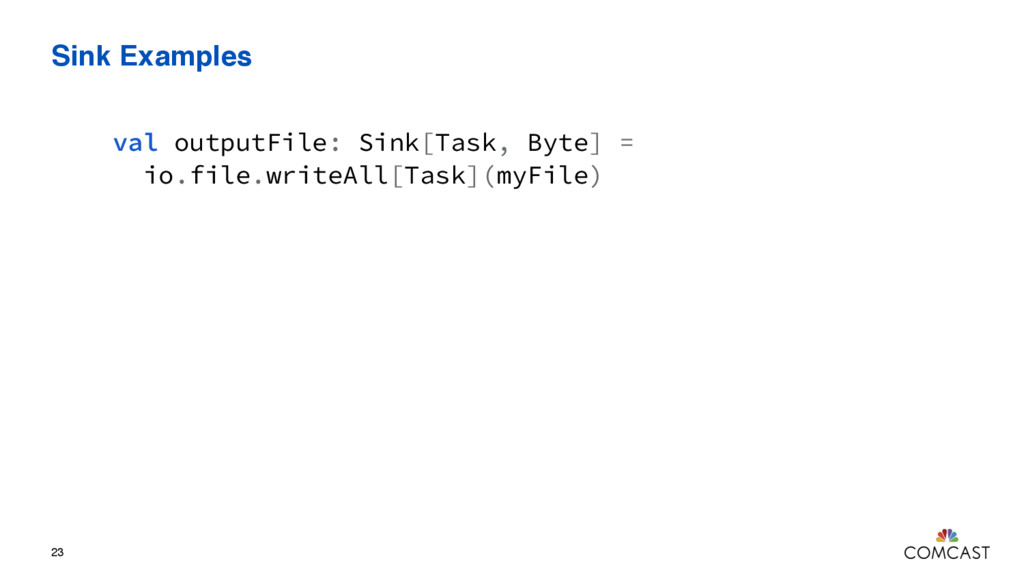 Sink Examples 23 val outputFile: Sink[Task, Byt...