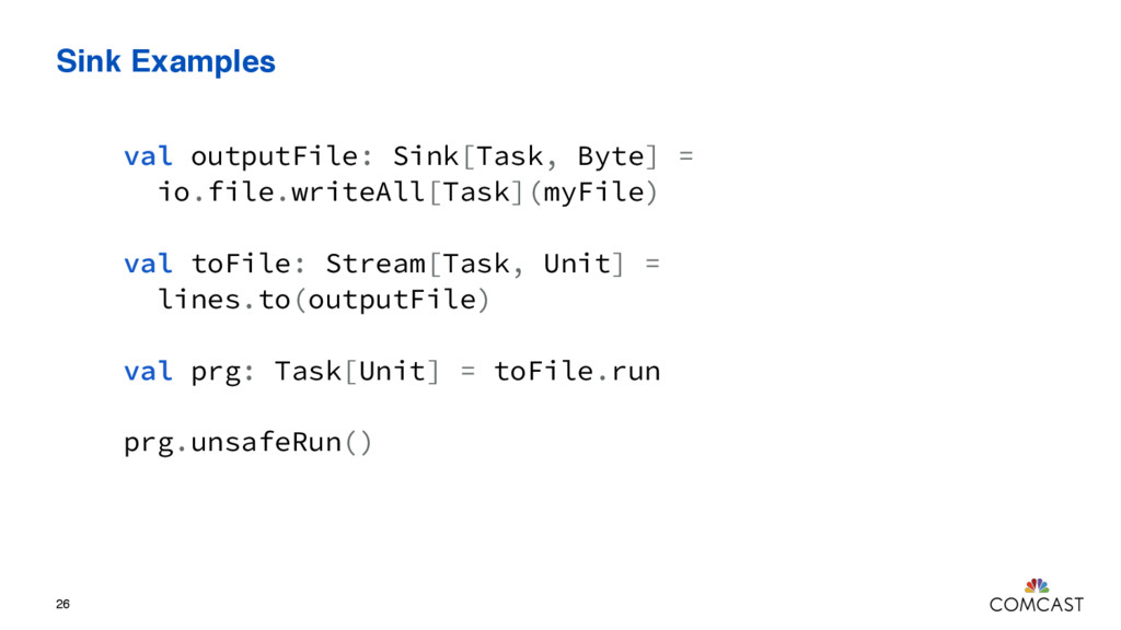 Sink Examples 26 val outputFile: Sink[Task, Byt...