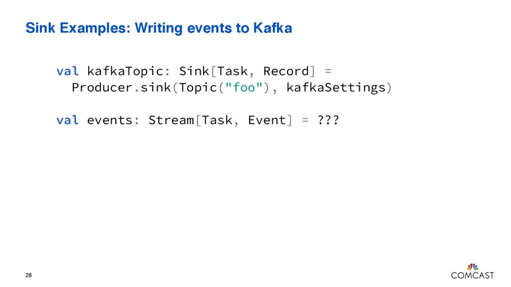 Sink Examples: Writing events to Kafka 28 val k...