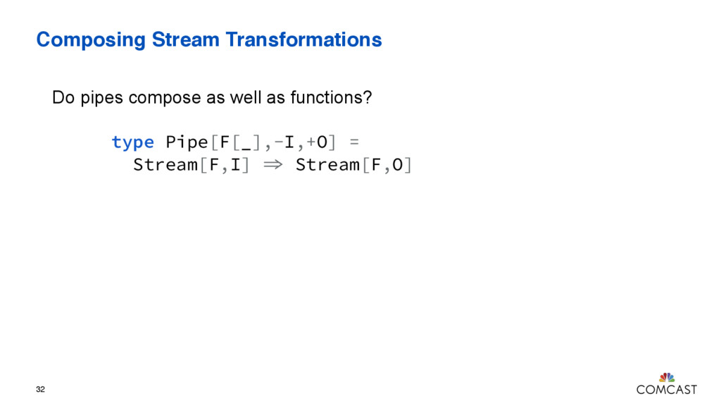 Composing Stream Transformations 32 type Pipe[F...