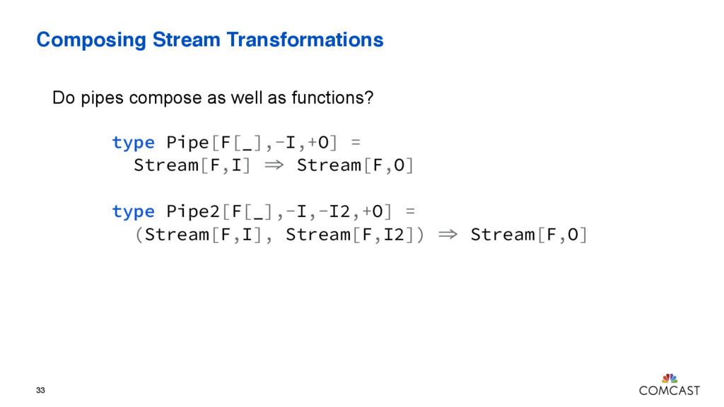 Composing Stream Transformations 33 type Pipe[F...