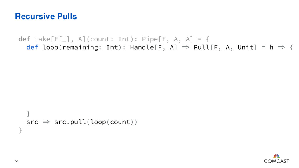 Recursive Pulls 51 def take[F[_], A](count: Int...