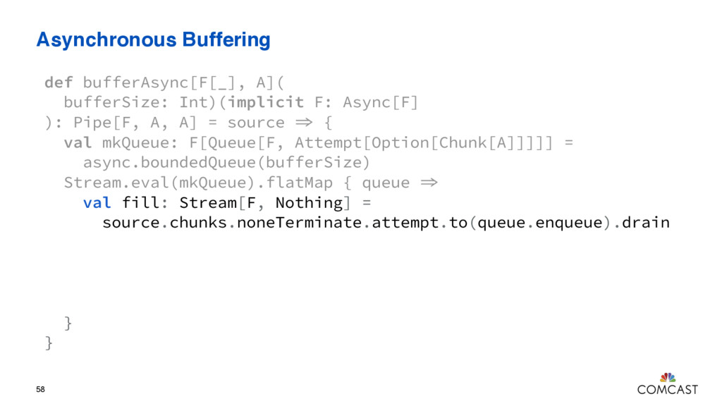 Asynchronous Buffering 58 def bufferAsync[F[_],...