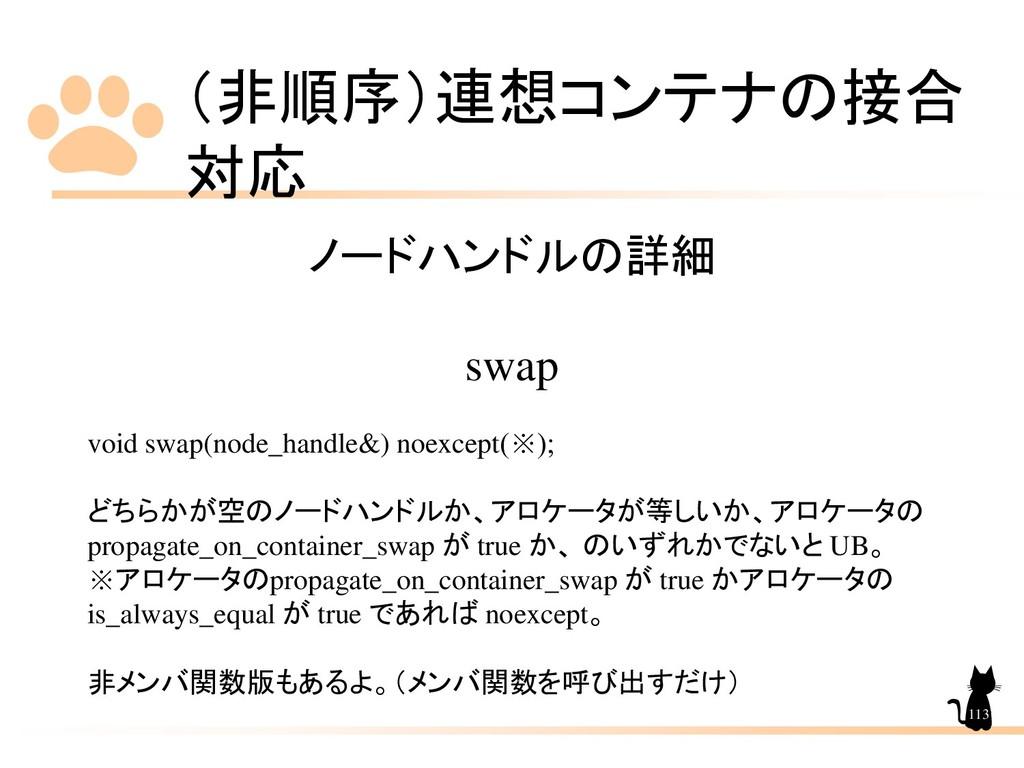 (非順序)連想コンテナの接合 対応 113 ノードハンドルの詳細 swap void swap...