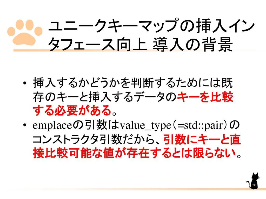 ユニークキーマップの挿入イン タフェース向上 導入の背景 20 • 挿入するかどうかを判断する...