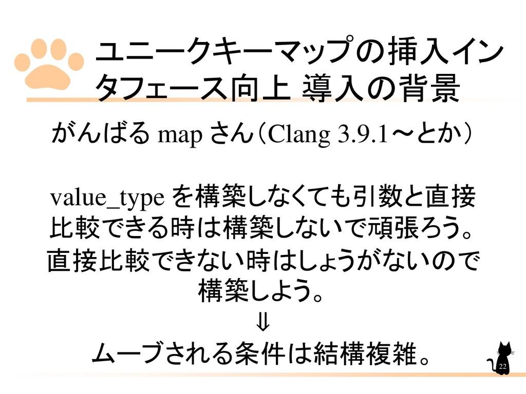 ユニークキーマップの挿入イン タフェース向上 導入の背景 22 がんばる map さん(Cla...