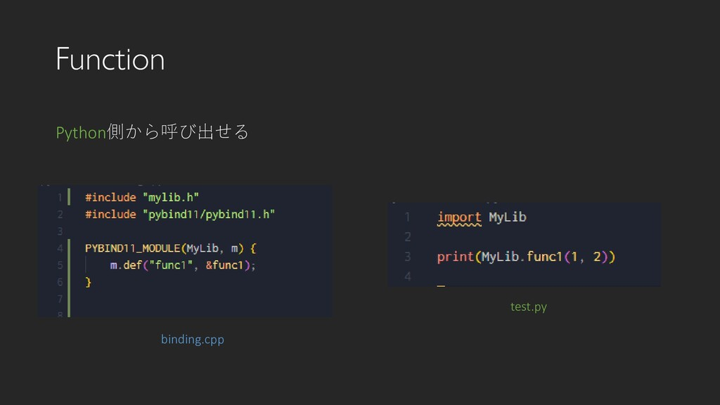 Function binding.cpp Python側から呼び出せる test.py