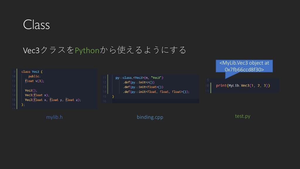 Class Vec3クラスをPythonから使えるようにする mylib.h binding....