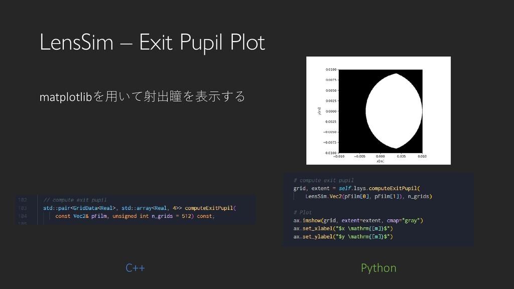 LensSim – Exit Pupil Plot Python matplotlibを用いて...