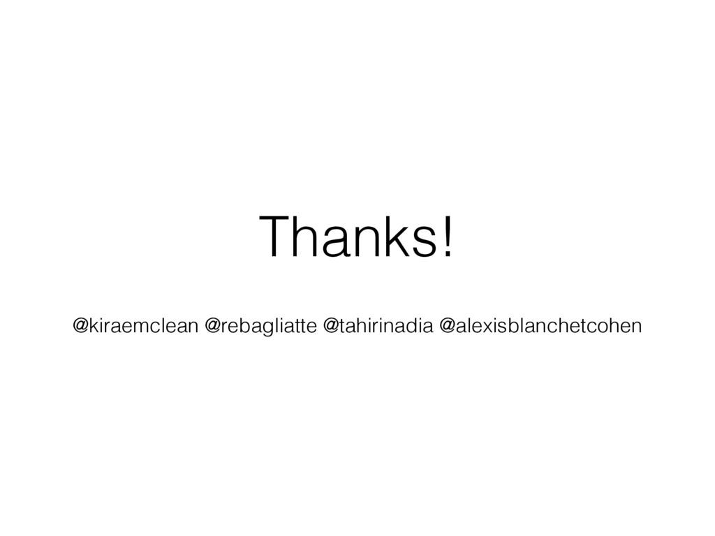 Thanks! @kiraemclean @rebagliatte @tahirinadia ...