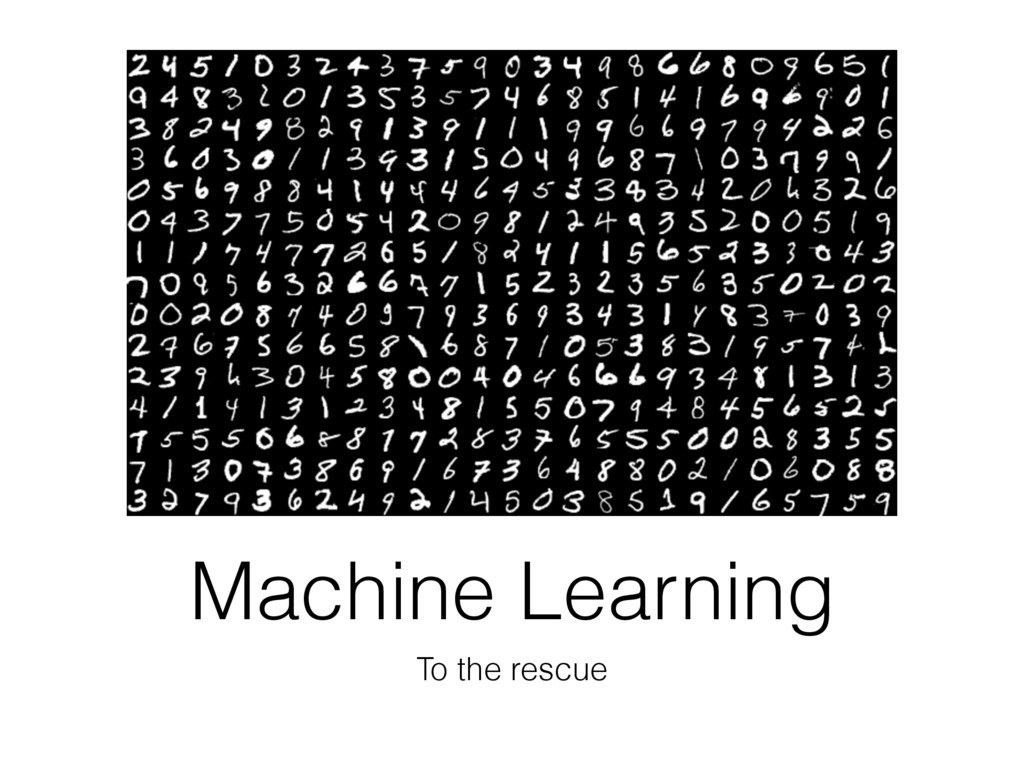 Machine Learning To the rescue