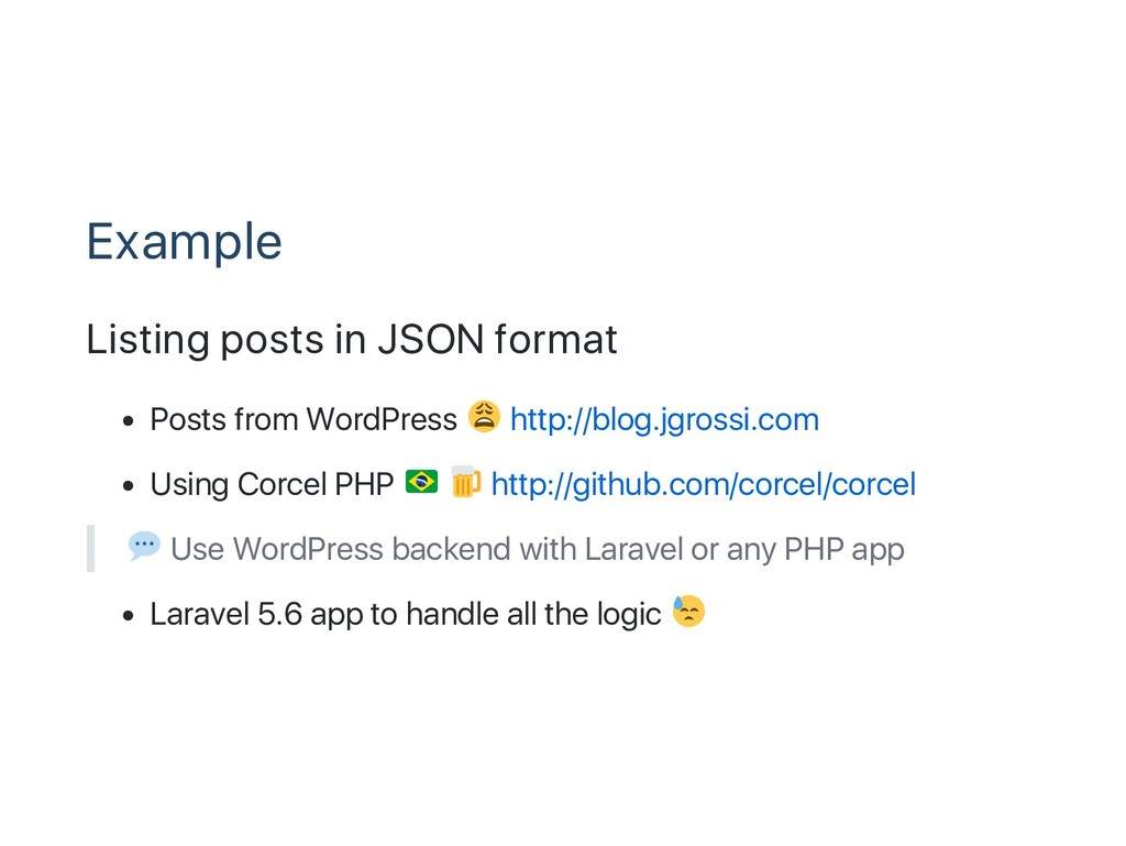 Example Listing posts in JSON format Posts from...