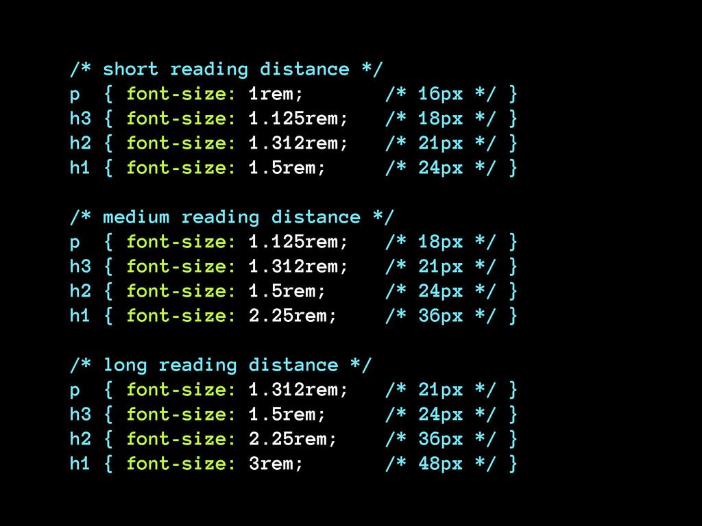 /* short reading distance */ p { font-size: 1r...