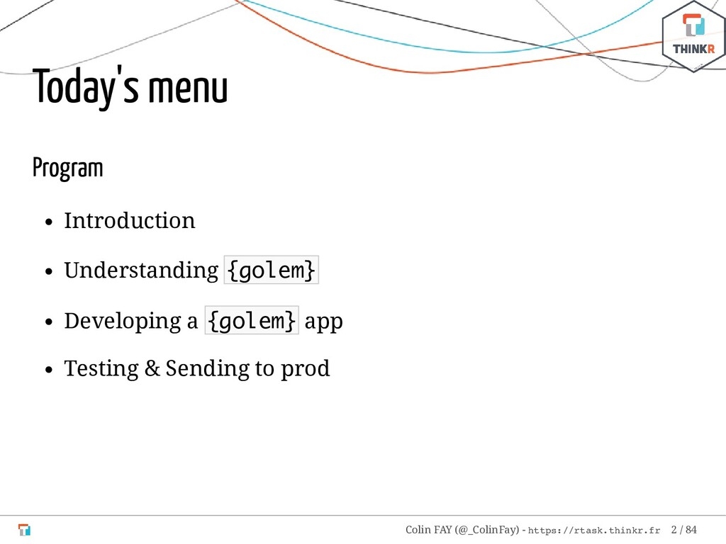 Today's menu Program Introduction Understanding...
