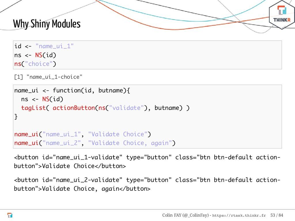 "Why Shiny Modules id <- ""name_ui_1"" ns <- NS(id..."