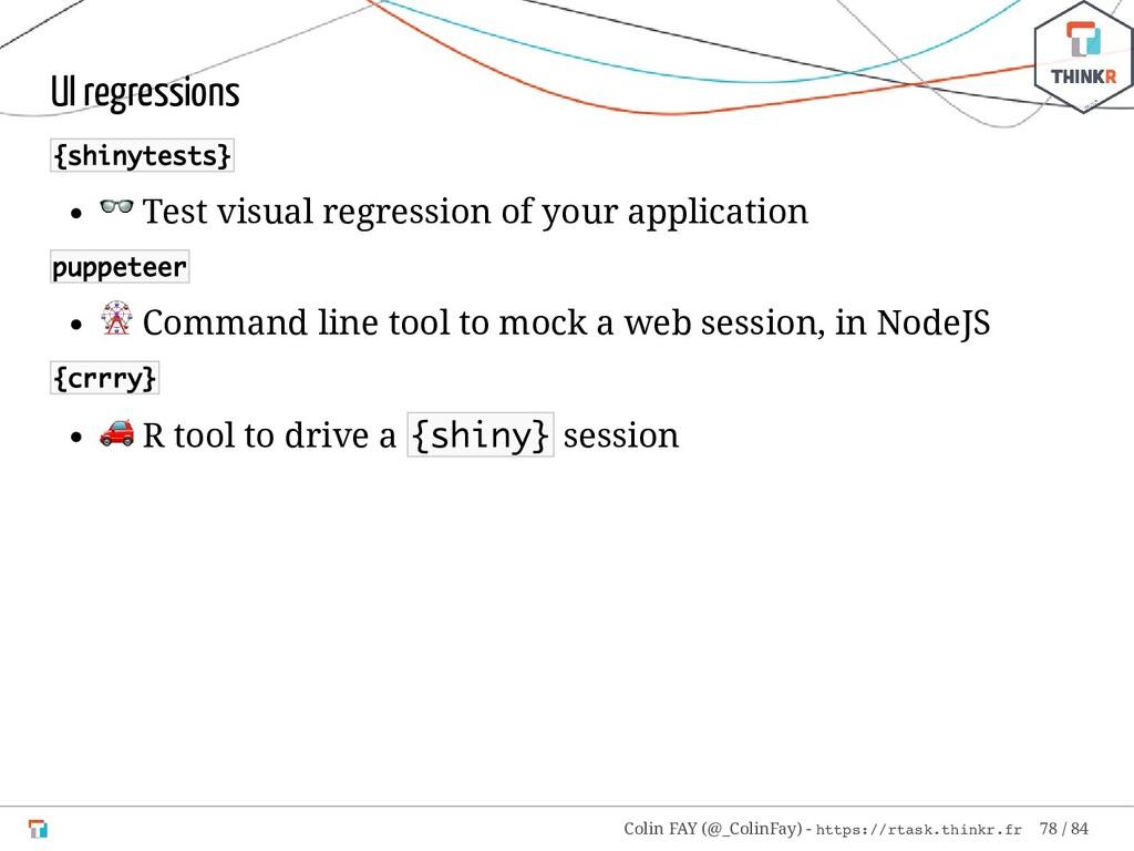 UI regressions {shinytests}  Test visual regres...
