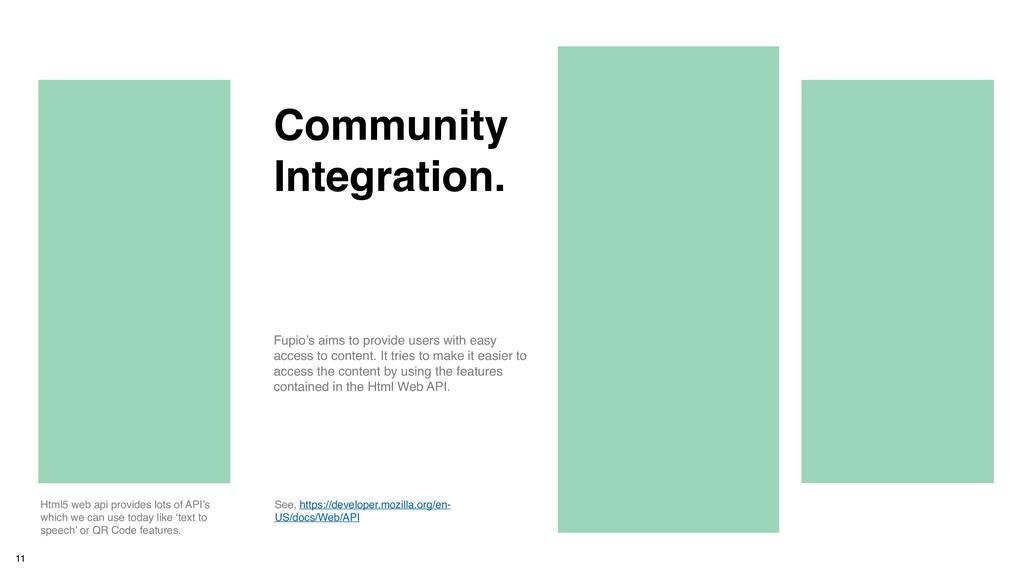 11 Community Integration. Html5 web api provide...