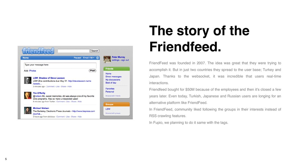 FriendFeed was founded in 2007. The idea was gr...