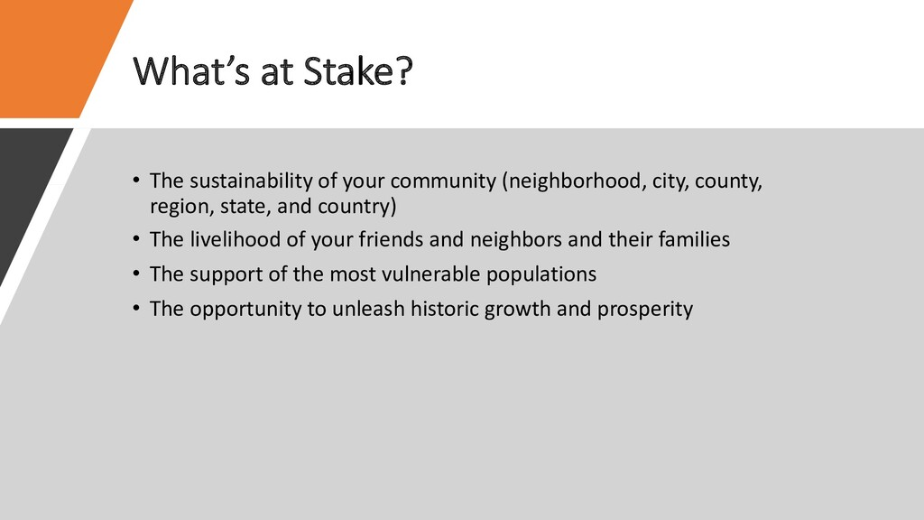 What's at Stake? • The sustainability of your c...