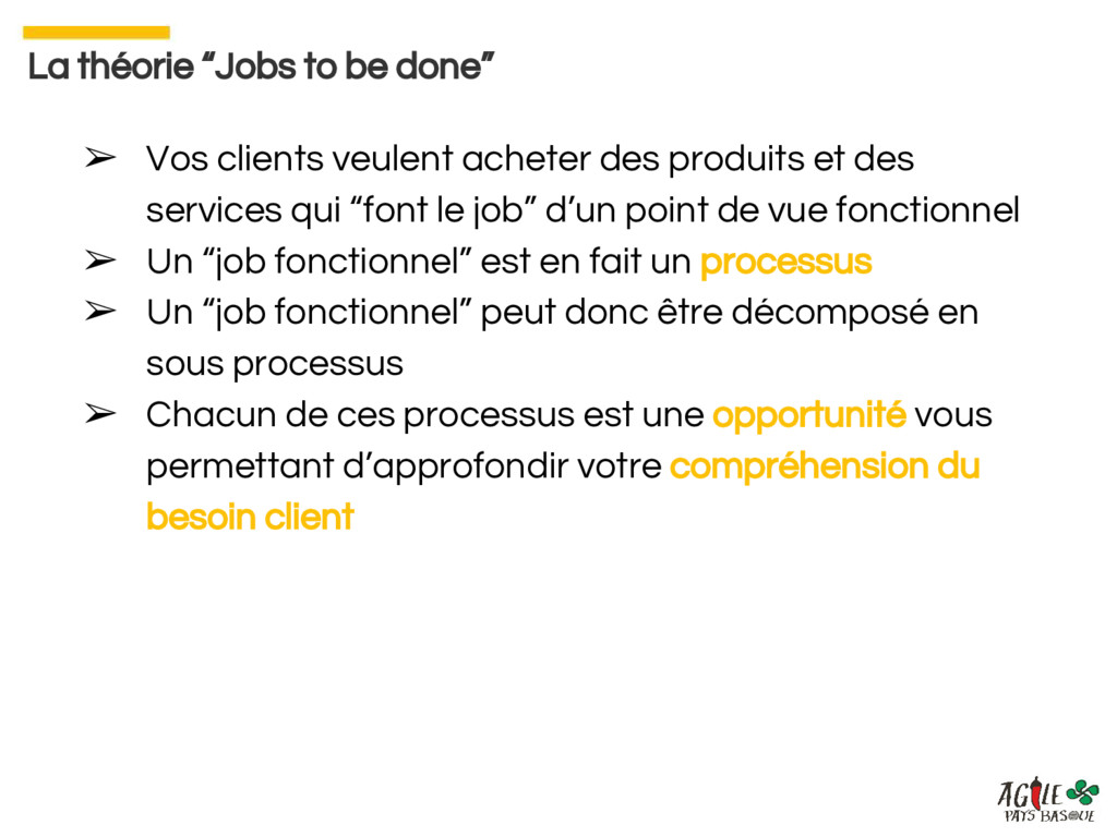 """La théorie """"Jobs to be done"""" ➢ Vos clients veul..."""