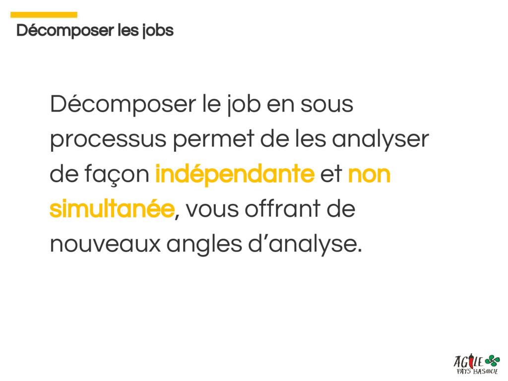 Décomposer le job en sous processus permet de l...