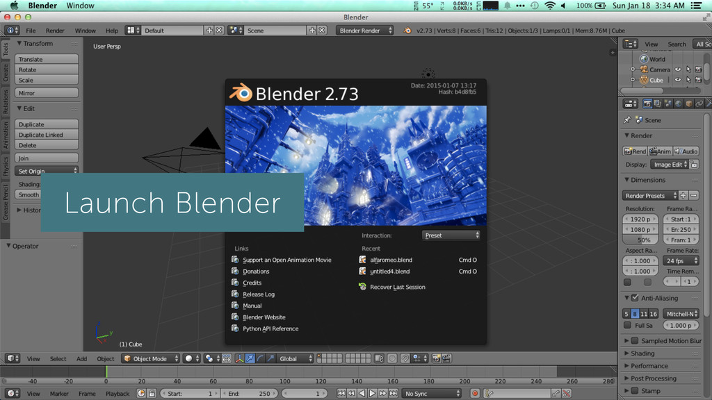 Launch Blender