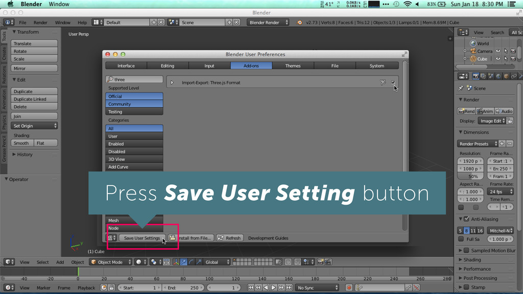 Press Save User Setting button