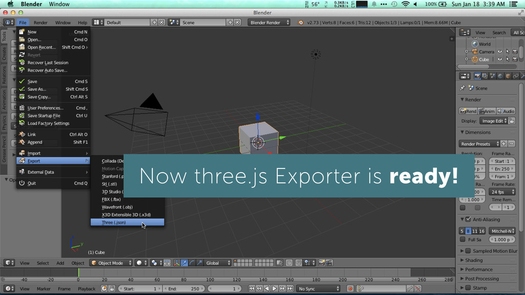 Now three.js Exporter is ready!