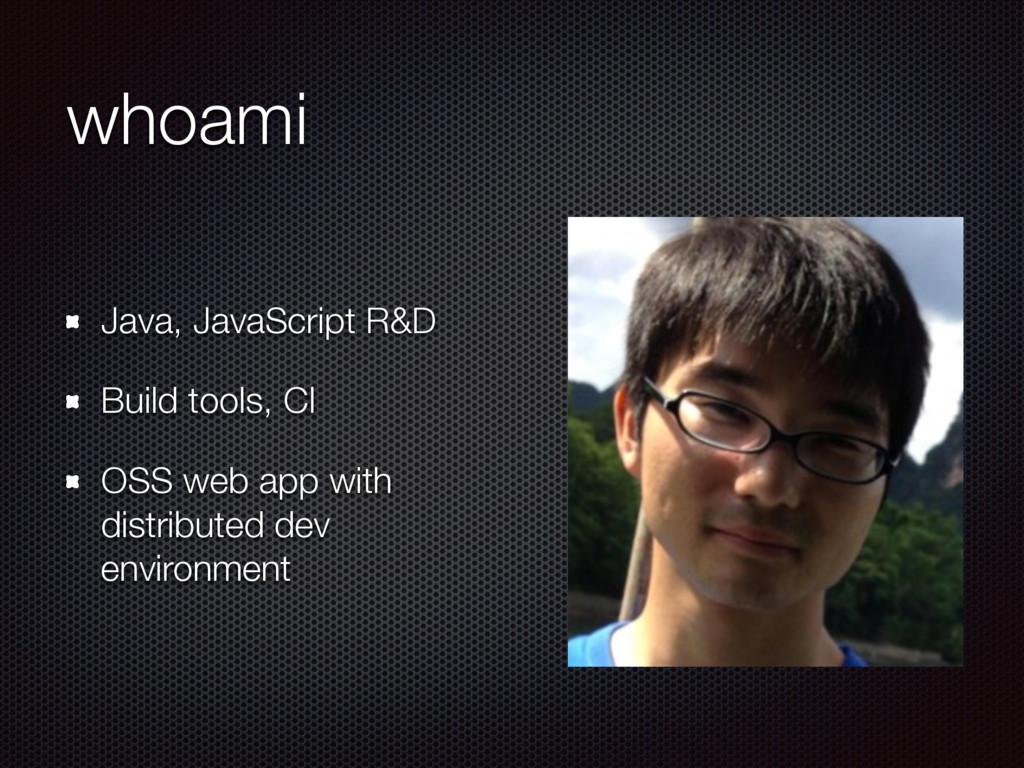 whoami Java, JavaScript R&D Build tools, CI OSS...
