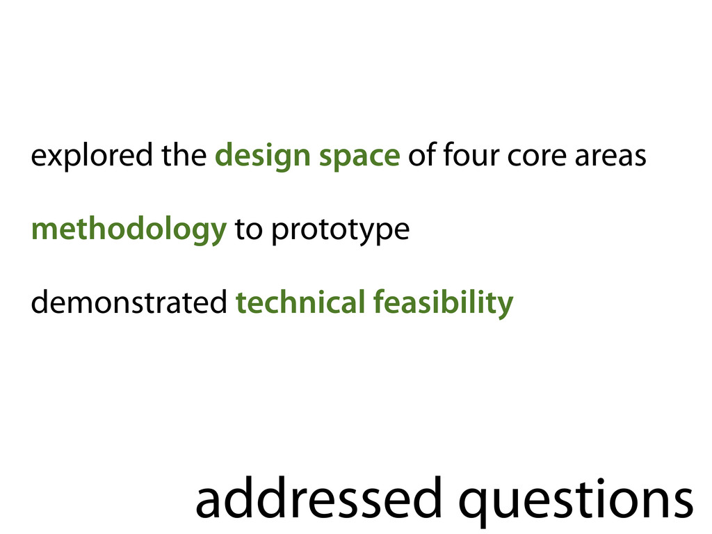 addressed questions explored the design space o...