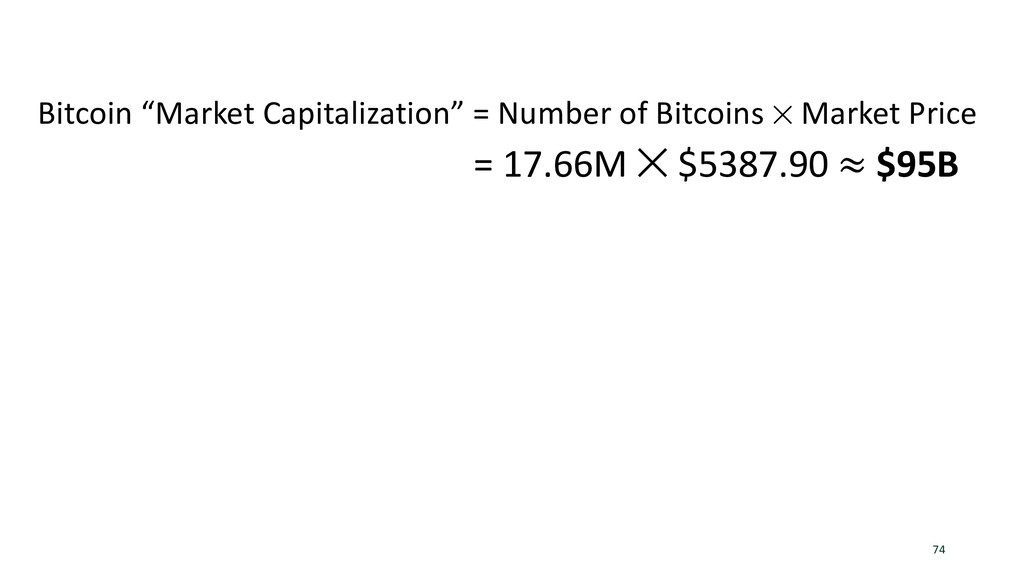 "74 Bitcoin ""Market Capitalization"" = Number of ..."