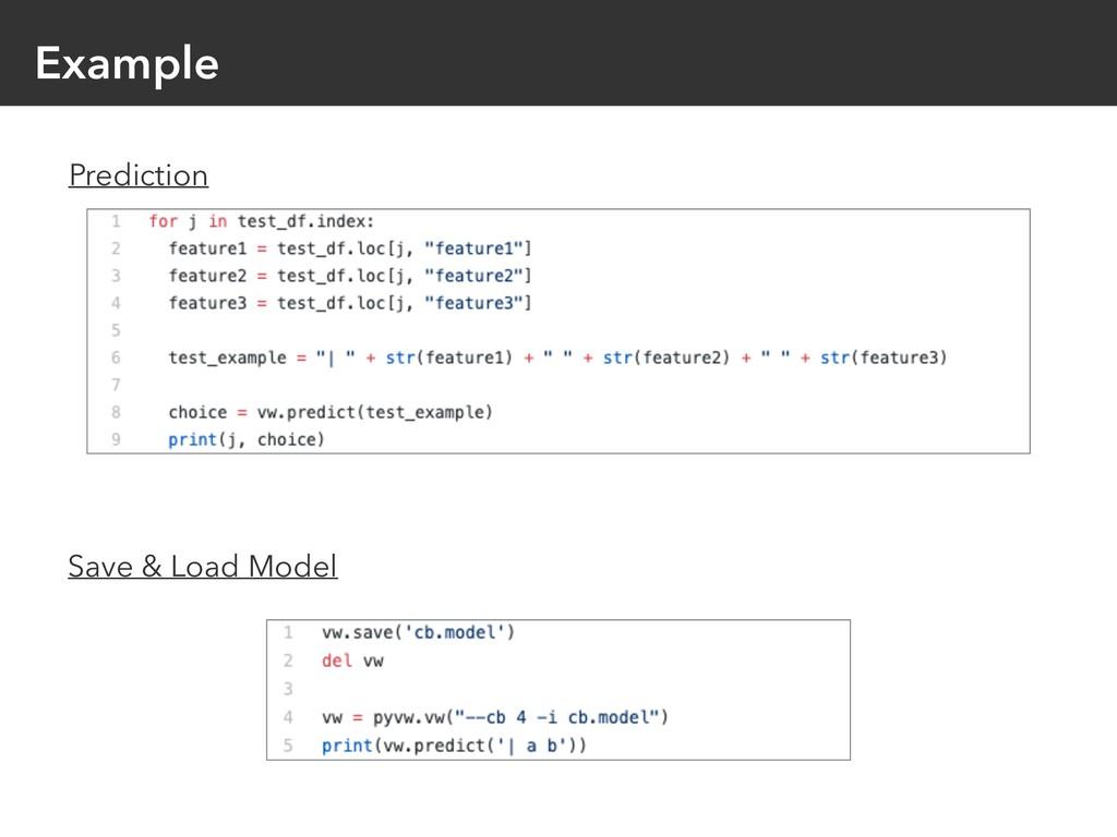 Example Prediction Save & Load Model