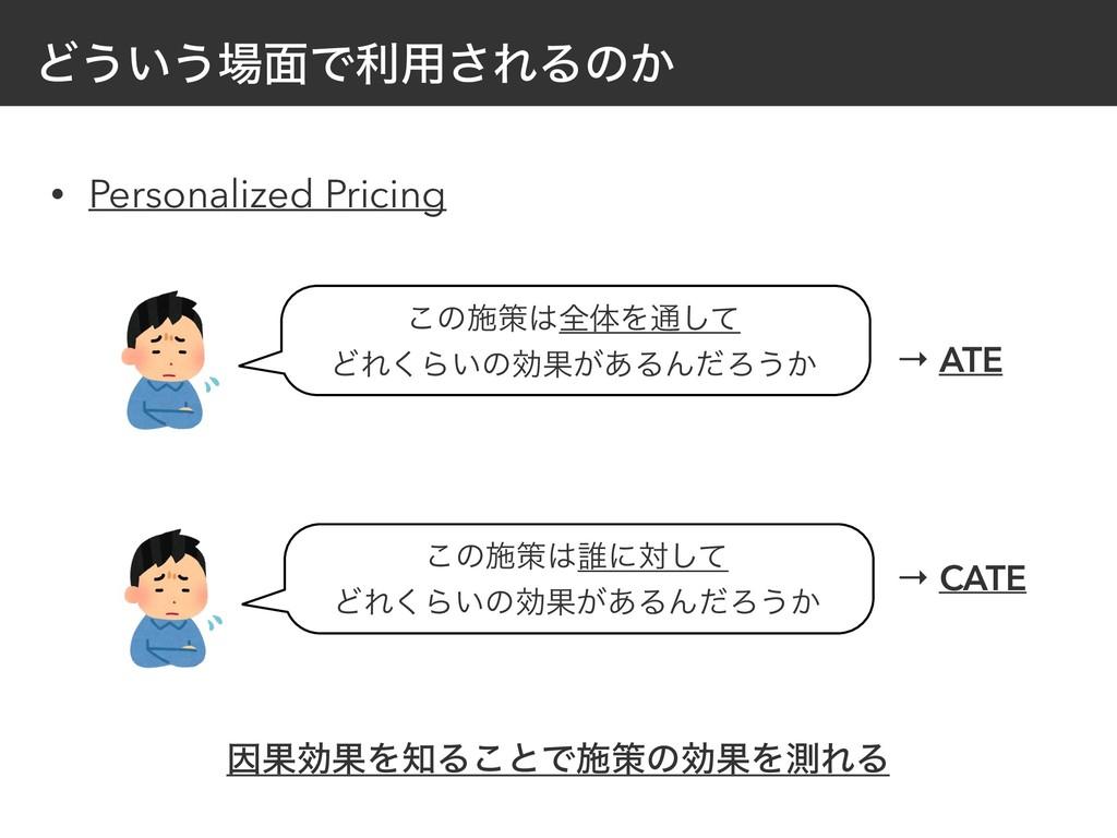 Ͳ͏͍͏໘Ͱར༻͞ΕΔͷ͔ • Personalized Pricing ͜ͷࢪࡦશମΛ௨...