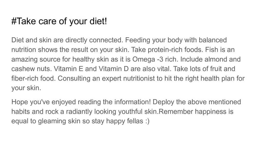 #Take care of your diet! Diet and skin are dire...