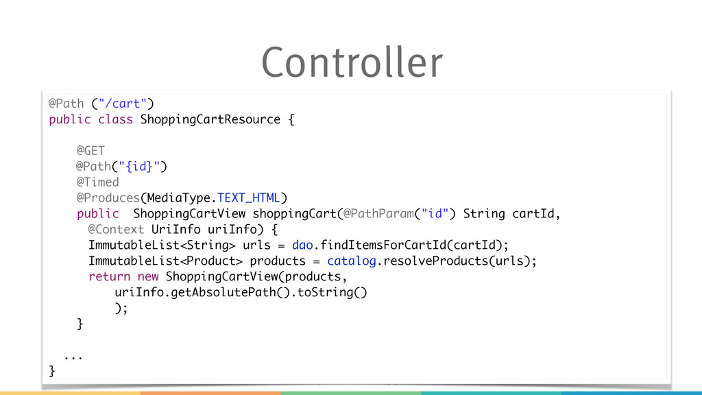 "#javaone #con4952 Controller @Path (""/cart"") pu..."
