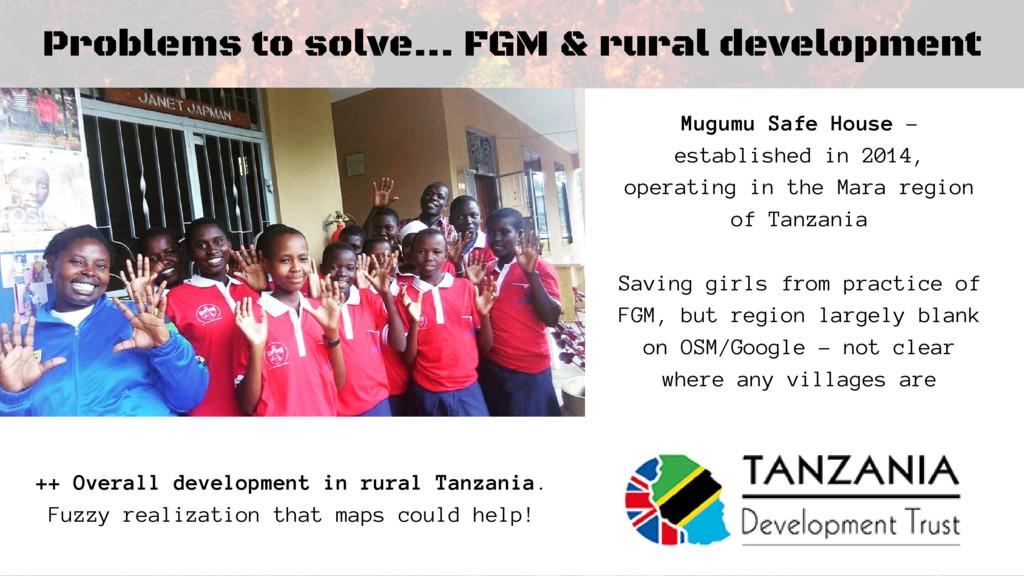 Problems to solve... FGM & rural development Mu...