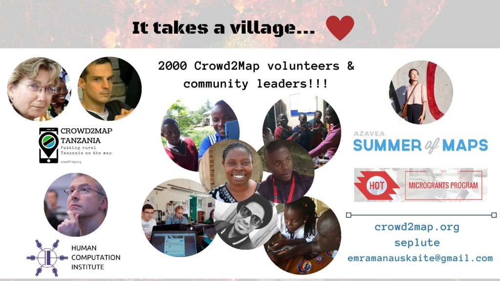 It takes a village... 2000 Crowd2Map volunteers...
