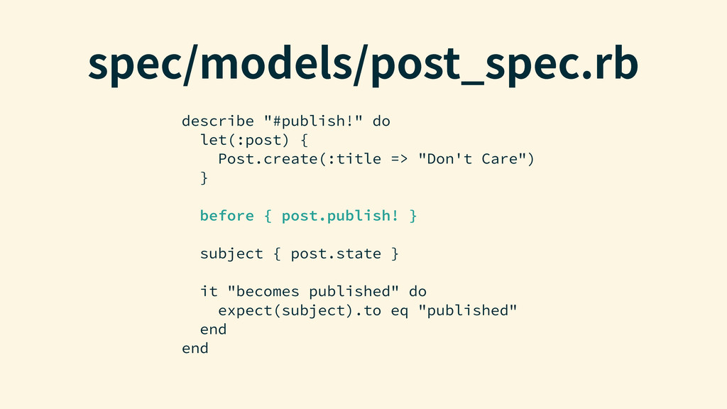 """TQFDNPEFMTQPTU@TQFDSC describe """"#publish!"""" d..."""