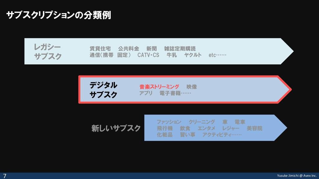 Yusuke Jimichi @ Avex Inc. サブスクリプションの分類例 7 レガシー...