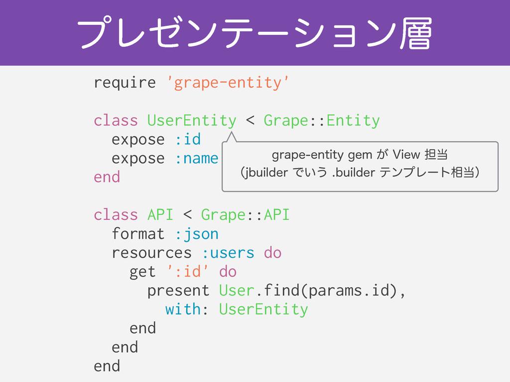 ϓϨθϯςʔγϣϯ require 'grape-entity' ! class UserE...